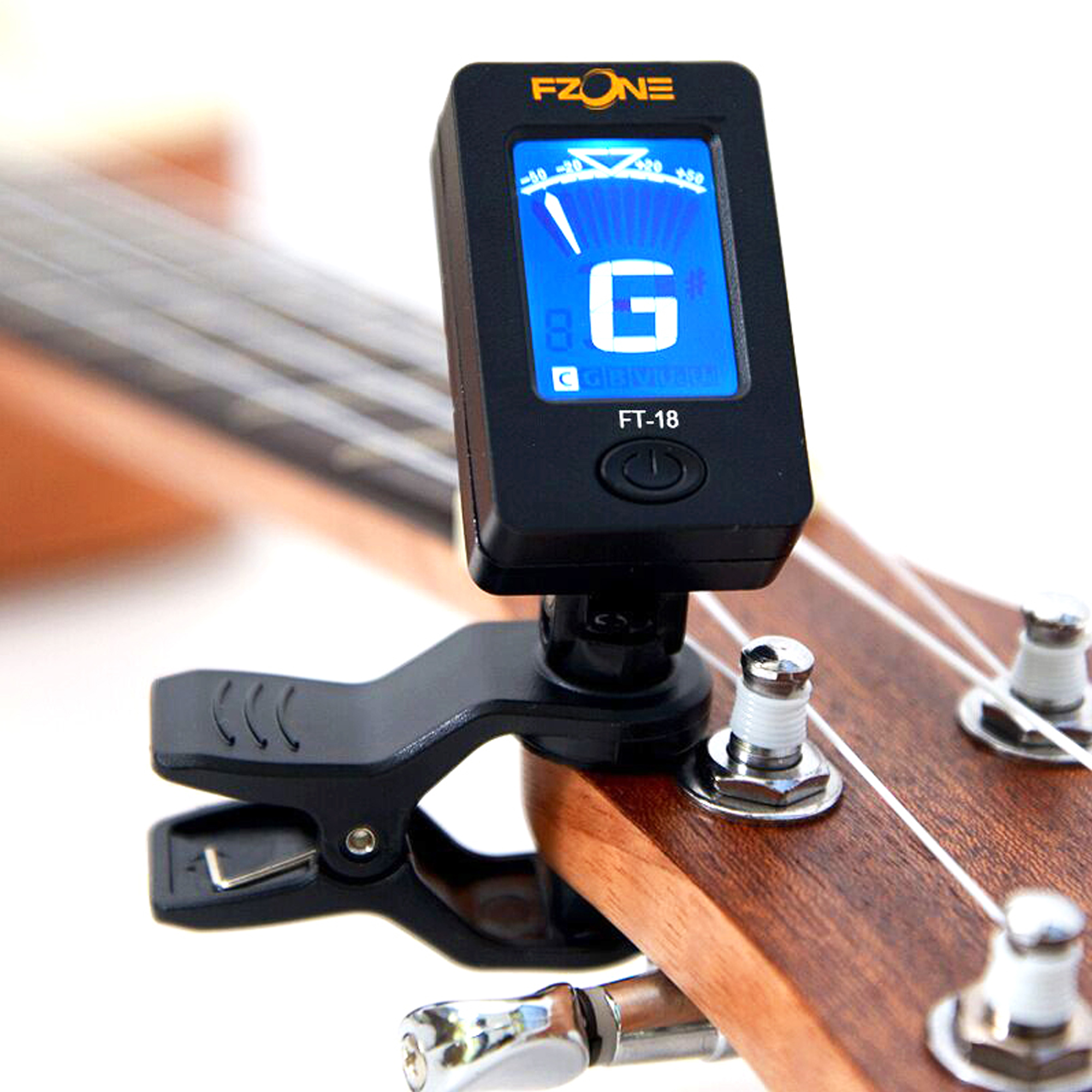 Fzone Guitar Tuner LED Display for Chromatic Guitar Bass Violin Ukulele Small and Lightweight FT-18