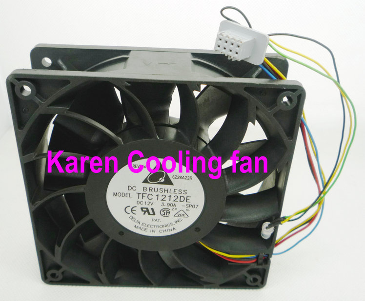 DELTA 12038 12v 3.9a TFC1212DE Cooling fan 12cm original delta afc1212de 12038 12cm 120mm dc 12v 1 6a pwm ball fan thermostat inverter server cooling fan