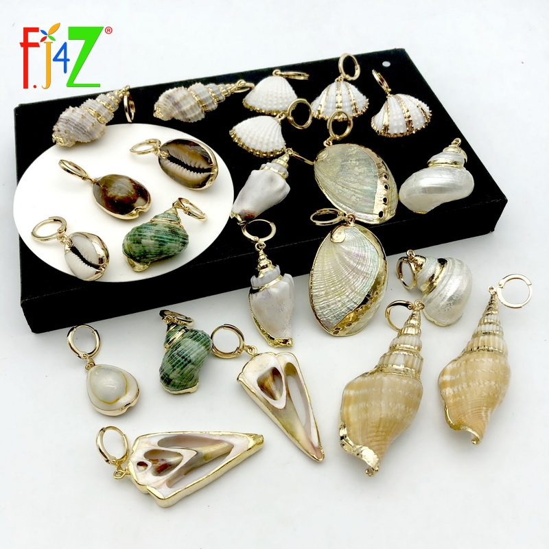 F J4Z Hot Seashell Earrings Vintage Women Hoop Earrings Nature Cowries Conches Summer Earrings Beach Jewelry Accessories in Hoop Earrings from Jewelry Accessories