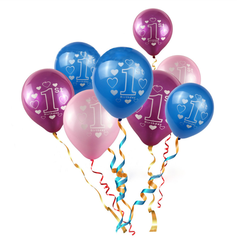 10pcs/lot Pink Blue Baby 1st Years Old Birthday Latex Balloons Girl Boy Baby Shower Party Decor Star Heart Printed Ballons