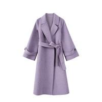 100% Шерстяное пальто для Для женщин 2018 Новое поступление отложной воротник Свободная Повседневная женская верхняя одежда зима Для женщин s Ш