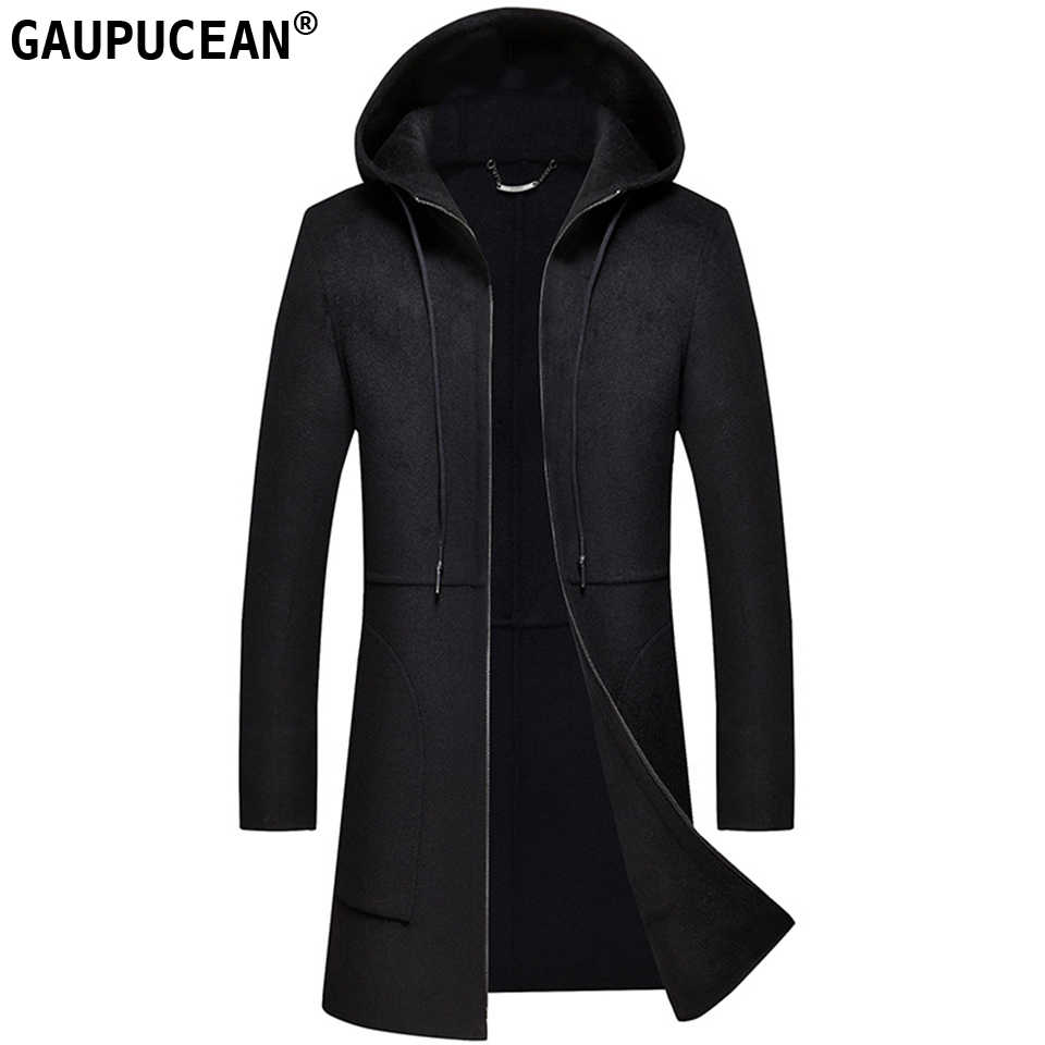 Man Wool Long Coats Hooded Quality Black Zipper Male Crease Resistant Warm Trench Pockets Men Double-faced Woolen Overcoat