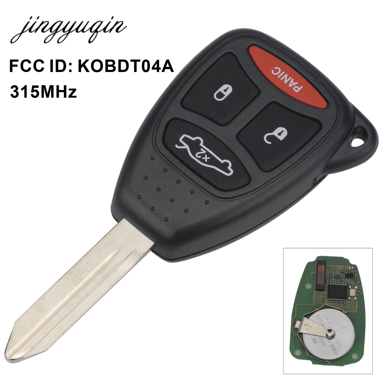 jingyuqin 315mhz KOBDT04A Remote Car key 3/4 Button for Dodge Chrysler Jeep Dakota Durango Charger 300 Aspen Grand Cherokee dodge dakota durango 17x9 5 double spokes factory oem wheel rim silver remanufactured