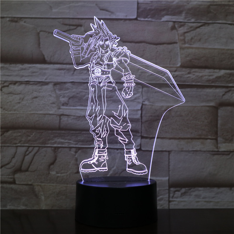 USB 3D LED Night Light Cloud Strife Figure Decoration Boys Child Kids Baby Gifts Game Final Fantasy 7 Table Lamp Bedside Neon