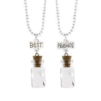 2018 Wishing Glass bottle dandelion Seed Pendant Necklace Best friends BFF 2 Friendship Jewelry Birthday Gifts For Girlfriends glass bottle