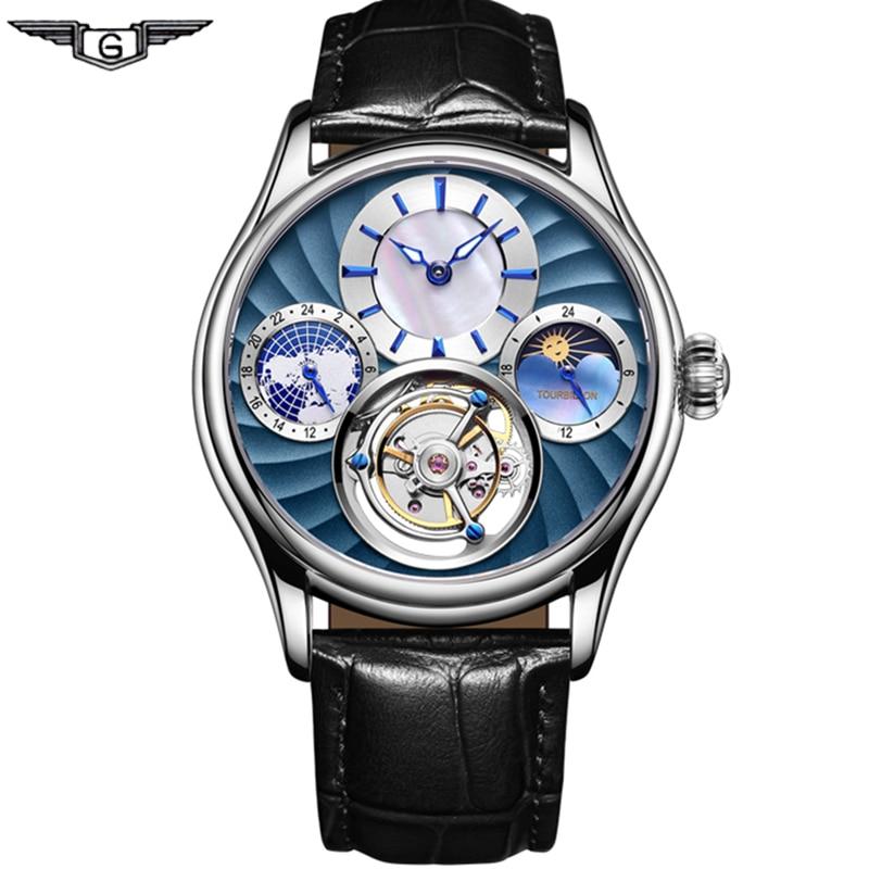 Real Tourbillon Mechanical Hand Wind Men Watch Top Brand Luxury Private Custom Skeleton Clock Men Sapphire Relogio Masculino
