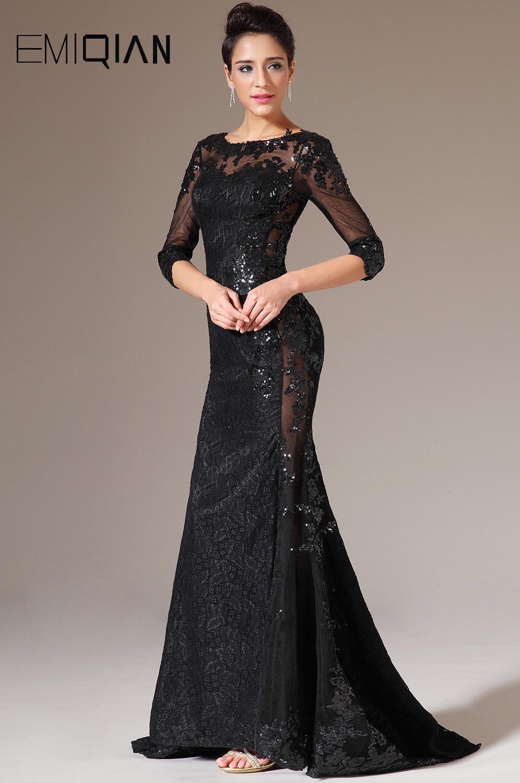 Freeshipping O Neck Half Sleeves Black Lace Evening Dresses