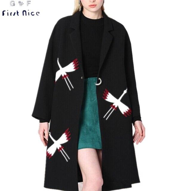 Женщины Тренч 2016 Новый Осень Зима Черная Птица Вышивка Аппликации Одной Кнопки Случайные Длинный Широкий талией Пальто И Пиджаки