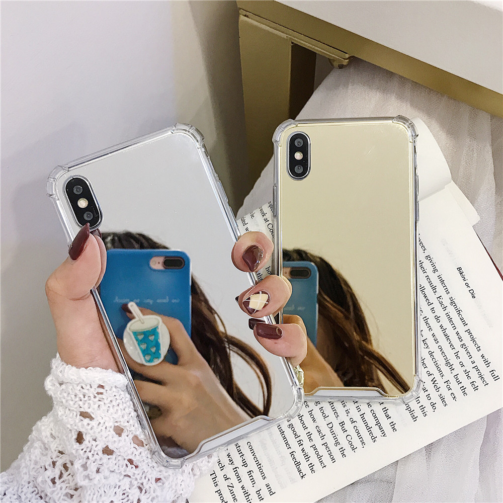 Shockproof Mirror Phone Case Cover for Samsung Galaxy S7 Edge S9 S10 Plus TPU Skin Note 8 9 Shockproof Shell in Fitted Cases from Cellphones Telecommunications