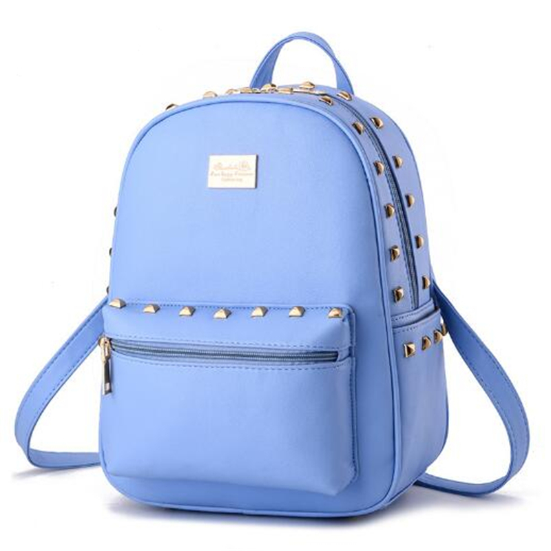 2017 Women Fashion Leather Backpacks School bags for Girls Teenagers Travel Rucksack mochila Candy Color Black