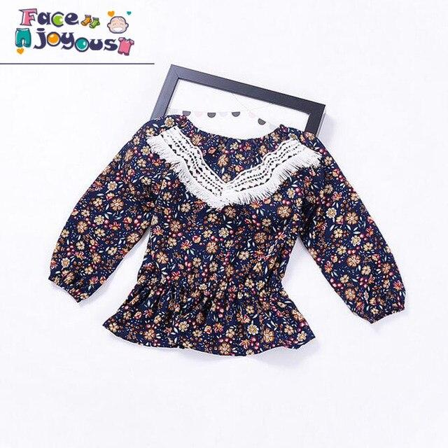 Bébé Fille Robe Coton Infantile Robe Imprimé floral Style Européen Vintage  À Manches Longues Enfant Robe