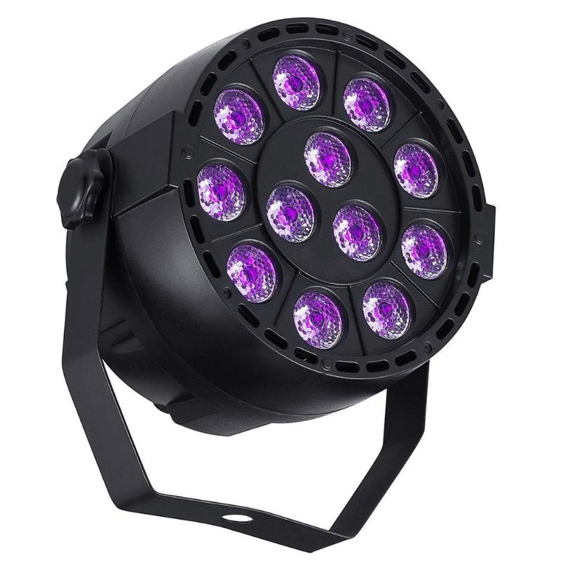 цены 12/36/54LED UV Purple Stage Par Light 60W DMX 8 Channel Ultraviolet Strobe Projection Lamp for KTV Pub Club Disco DJ Party