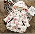 2016 Casacos de Inverno Padrão de Flor Meninas Do Bebê Jaqueta Com Capuz Quente Engrossar Crianças Outerwear Casacos Com Roupa Dos Miúdos