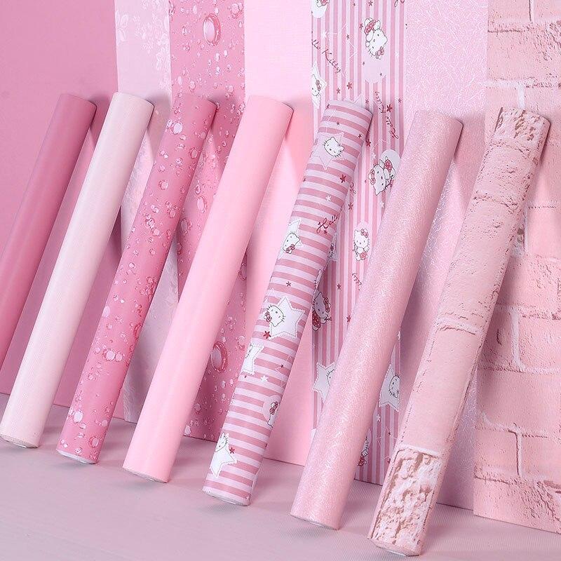 Papel pintado autoadhesivo para dormitorio de niña impermeable papel pintado Rosa cálido pegatinas de pared del dormitorio muebles decorativos de escritorio PVC 3D pegatina extraíble base borde autoadhesivo impermeable patrón papel pintado borde decoración de pared