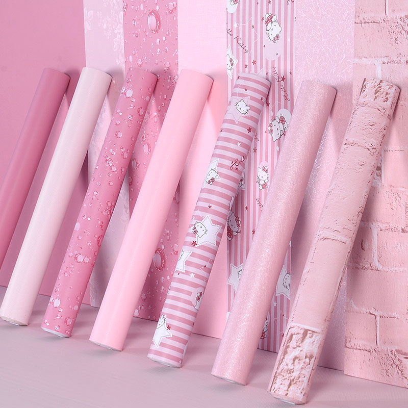 Wallpaper Self-adhesive Bedroom Girl Waterproof Warm Pink Wallpaper Dormitory Wall Stickers Decorative Desktop Cabinet Furniture