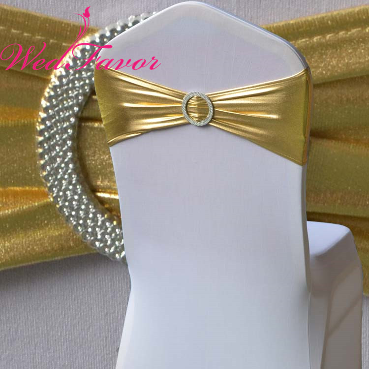 WedFavor 100pcs Bronzing Elastic Stretch Chair Bow Metallic Gold Lycra Spandex Chair Sash Bands With Round
