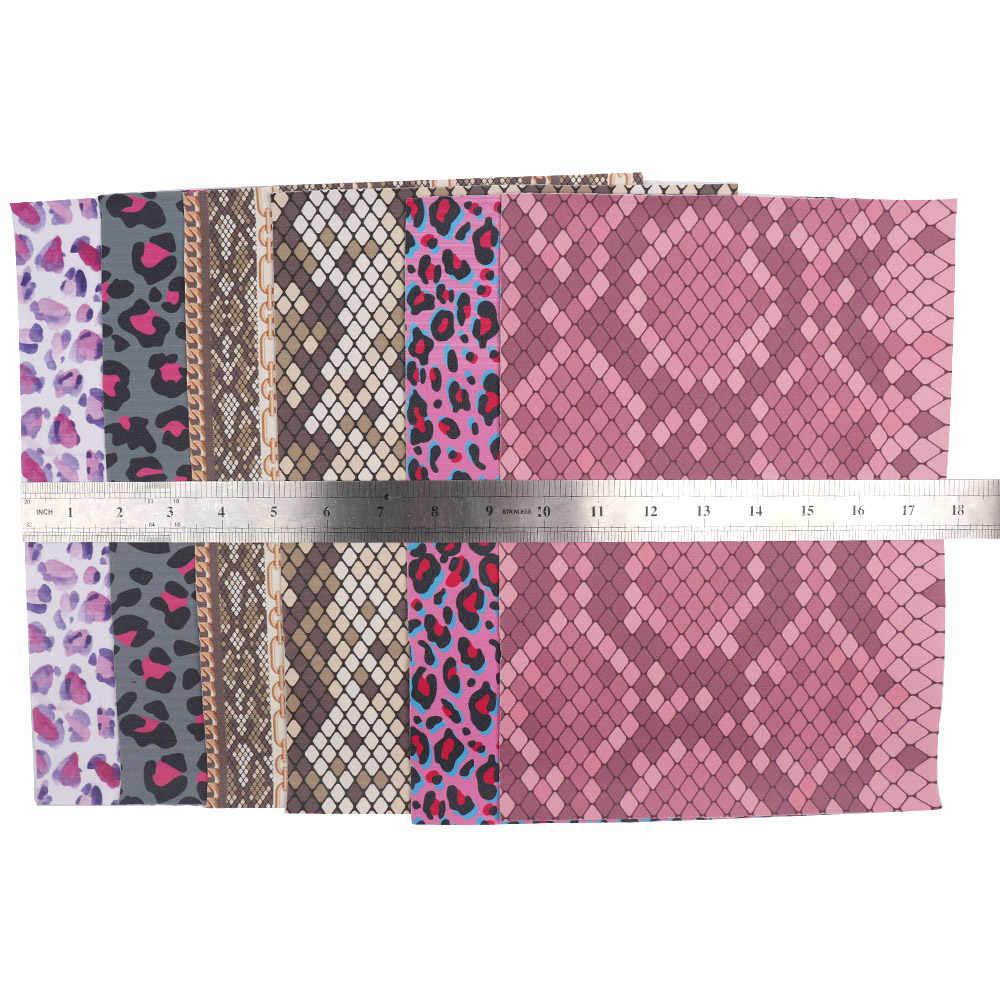 IBOWS 22*30cm leopardo impreso cuero de imitación nueva tela de cuero sintético serpiente para el pelo DIY arcos accesorios hechos a mano bolsas Cratfs