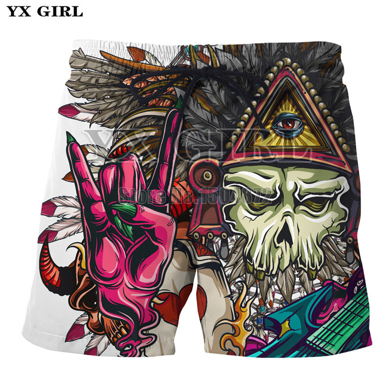 YX Girl 2018 Summer Mens Cartoon Pirate Demon Rocker 3d Printed Shorts Men Casual Beach  ...