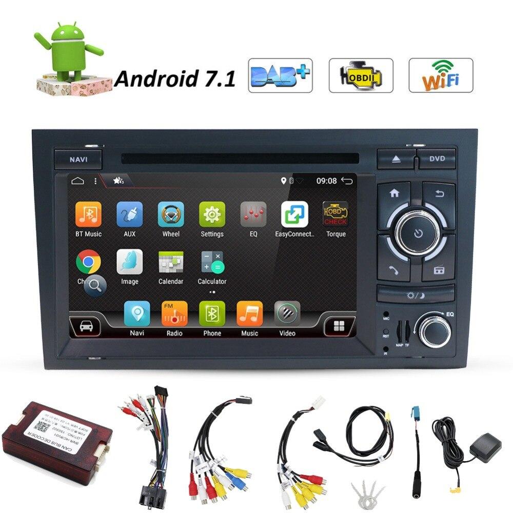 2din Quad Core 7 pouce Android 7.1 Lecteur DVD de Voiture Pour Audi A4 GPS Navigation Stéréo Headunit Avec Bluetooth Radio RDS Canbus Carte