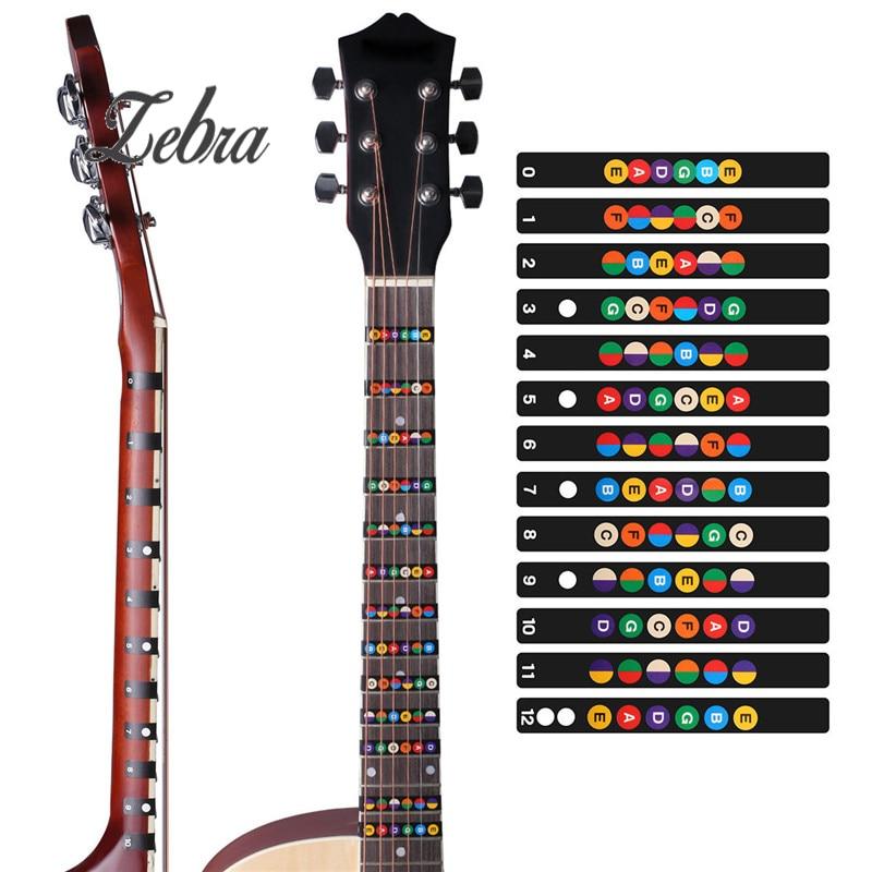 Guitar Fretboard Note Decals Beginners Fingerboard Sticker Label Map Frets Scale for Acoustic Electric Guitar Practice Learner acoustic guitar neck fingerboard fretboard for guitar parts replacement rosewood zebrawood veneer