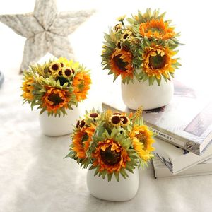 Image 5 - Autumn Decoration 5 Heads Yellow Sunflower Silk Artificial Flowers Bouquet For Home Decoration Office Party Garden Decor