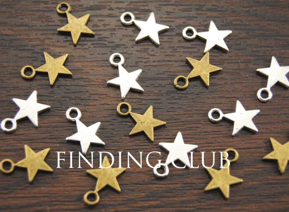 50 pcs Antique Bronze/Silver Star Charms Pendant, Drop Double Side 10mm Metal Bracelet Necklace Jewelry Findings A322/A1031 concise and cute bronze star pendant necklace