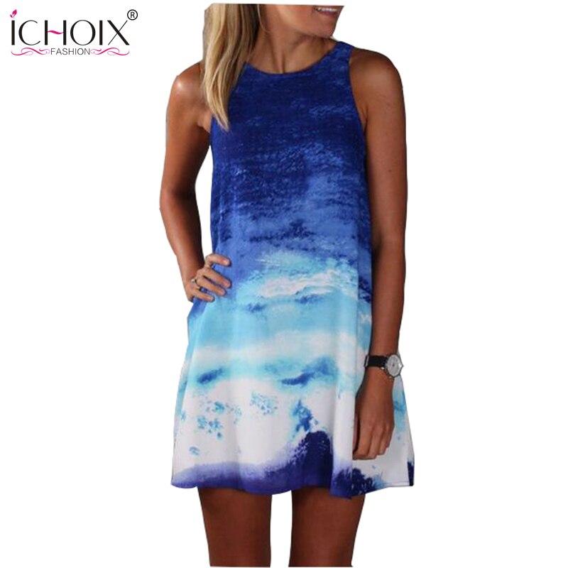 Ichoix estilo sin mangas del verano de los vestidos ocasionales mujeres summer d