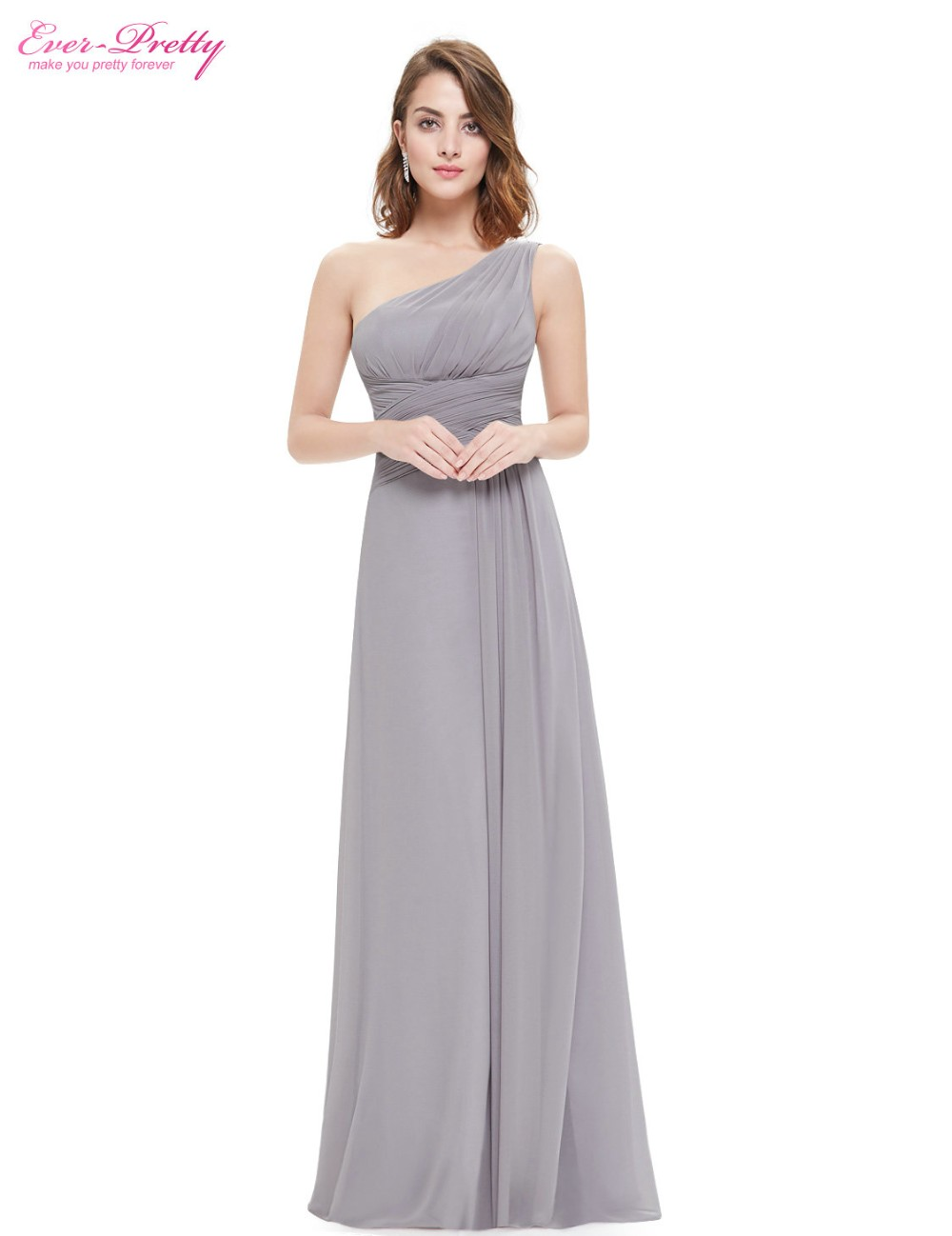 0acab910702 Grey Chiffon Evening Dresses Ever-Pretty EP09905 Elegant A-line 2018  Vestidos Chiffon Formal Party Dresses Floor Length