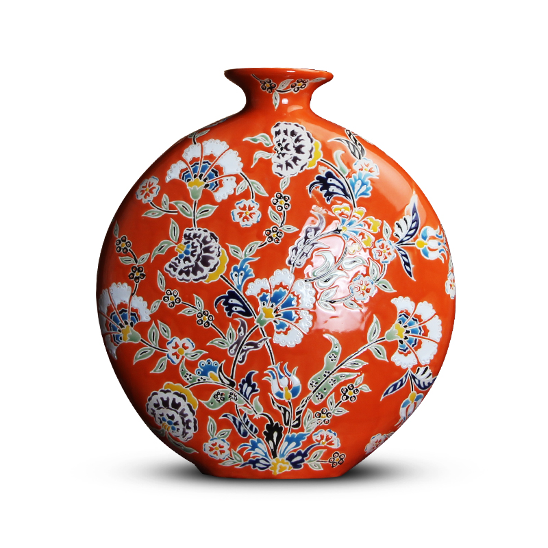 Chinese American Style Orange Red Pastel Hand Painted Ceramic Flat