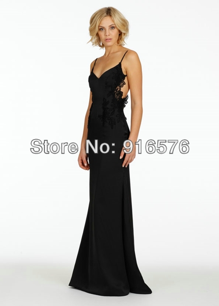 Sexy New 2014 Backless Bridesmaid Dresses Long Party Black Appliques Spring  Wedding Guest Dress-in Bridesmaid Dresses from Weddings   Events on ... 19f60756fc33