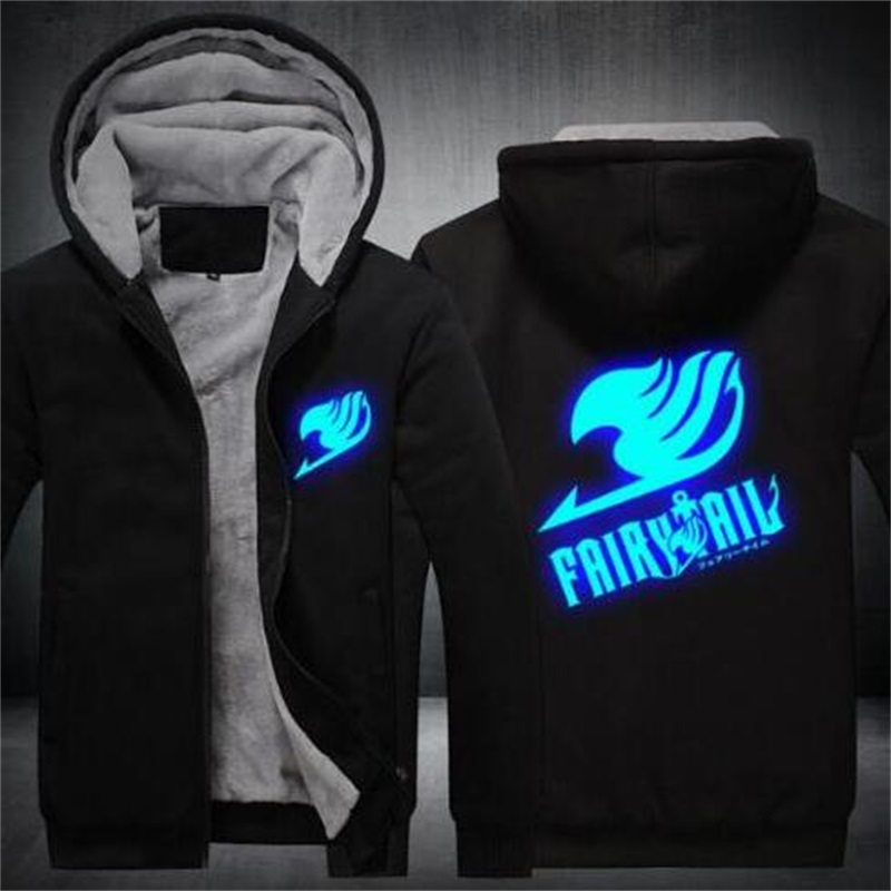 COYOUNG Brand US Plus Size 5XL Men Hoodies Fairy Tail Hoodies Coat Winter Fleece Thicken Luminous Men Hoodies Sweatshirts Jacket