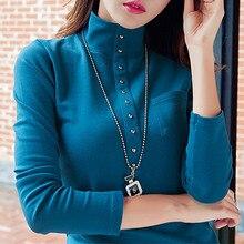 Cotton Turtleneck Tee Shirt Femme Long Sleeve t-shirt Women t shirt Womens Tops Fashion Poleras De Mujer Solid Camisetas
