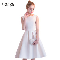 WEIYIN New Champagne Evening Dresses Sexy Scoop Sleeveless Straight Dress Cheap Zipper up Cocktail Party Graduation Dresses