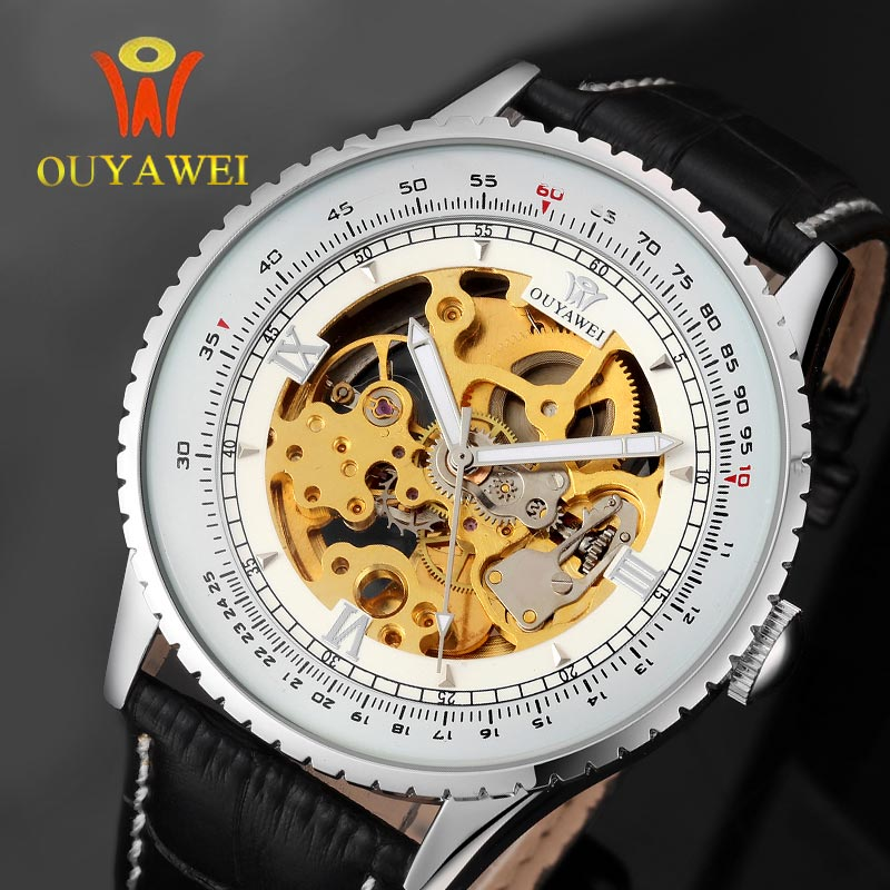 OUYAWEI Self-Wind Skeleton Men's Watches Reloj Masculino Luxury Ultra Thin Dial Black Leather Band Mechanical Watch Sports Clock fxb f3d2x4 enhanced windsock wind vane double frame skeleton