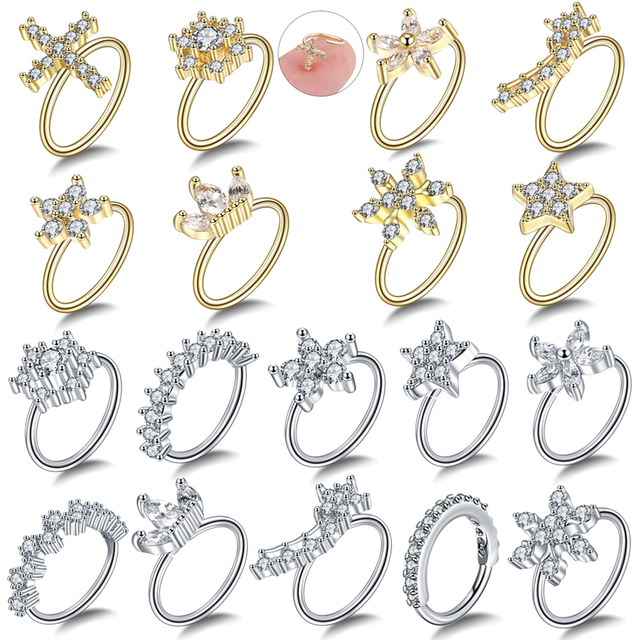 1PC Brass Easy Bendable Ear Tragus Cartilage Earring Crystal Flower Piercing Nose Hoop Rings Gem Daith Septum Helix Ring Jewelry