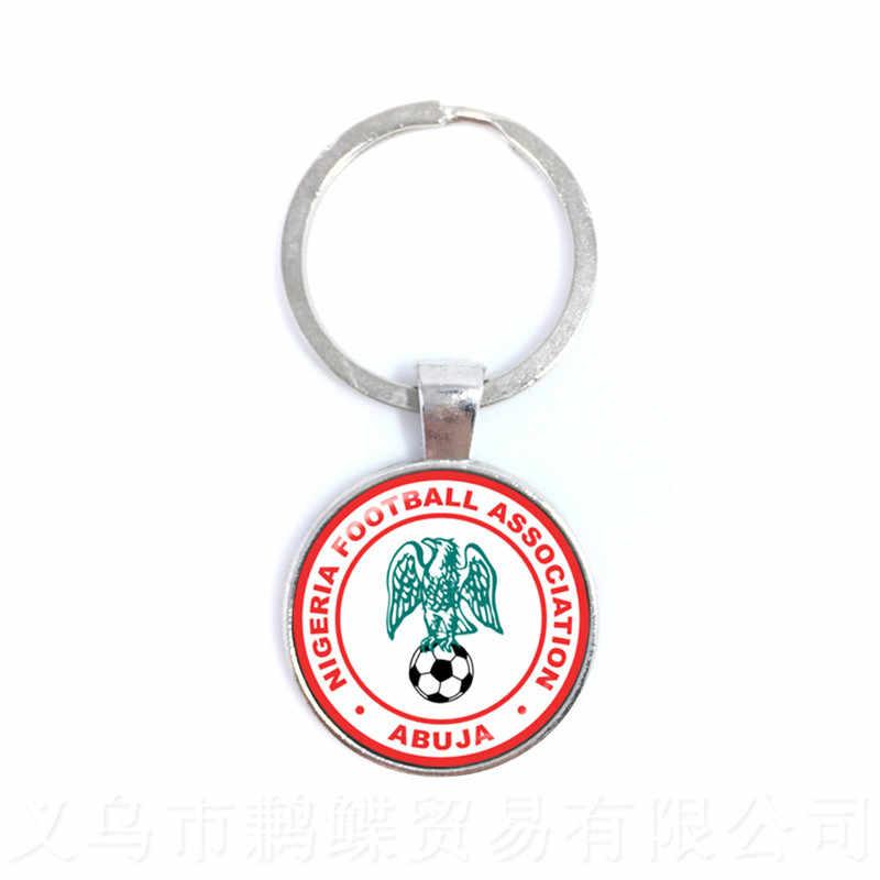 LLavero de 2018 aficionados al fútbol Japón, Portugal, Nigeria, México, llavero con colgante de cúpula de cristal con logotipo de equipo nacional de fútbol de Marruecos