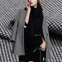 The gift of time plaid herringbone double sided wool fabric for dress coat fashion telas tissus au metre tissu costura DIY