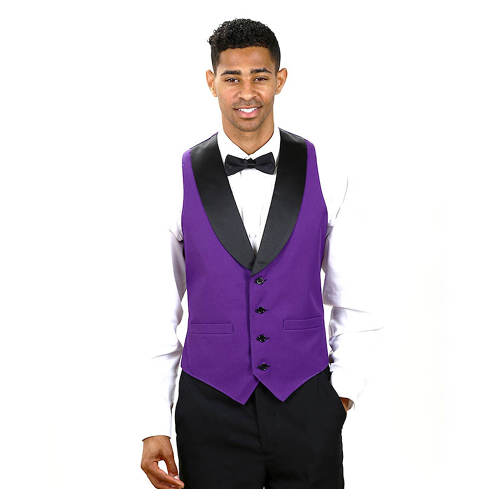 custom made purple formal men waistcoats slim fit black lapel suit vests for man gilet costume. Black Bedroom Furniture Sets. Home Design Ideas