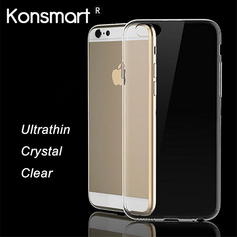 IPhone 6S üçün şəffaf yumşaq silikon koque Kristal TPU qutusu iPhone X 6s 6 7 8 Plus telefon qutuları KONSMART
