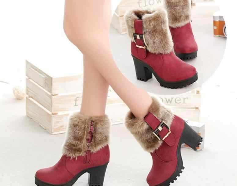 New Women High Heels Casual Snow Boots Platform Block Winter Warm Faux Fur Female Suede Buckle Short Ankle Boots Shoes