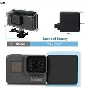 Image 4 - FeoconT الموسعة بطارية ل GoPro 5 الذهاب برو 6 للماء واقية حالة الغوص الإسكان شل مع الجانب قوة البنك