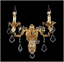 Wholesale Golden Crystal Wall Light Fixture Silver Sconces Lamp Brackets Chandelier Free Shipping