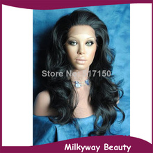 Free shipping in stock japanese heat resistant fiber 1b off black natural wavy synthetic lace front wig