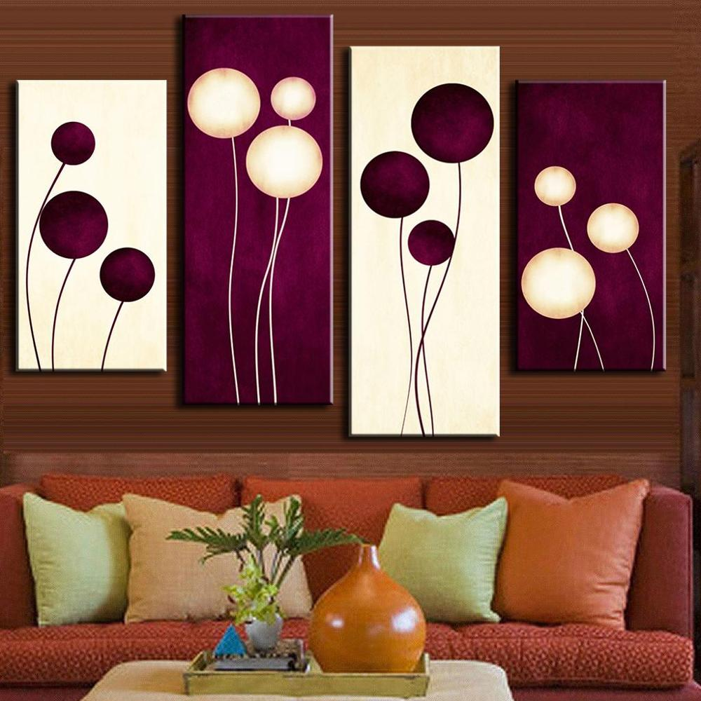 Newest 4 Pcs/Set Abstract Oil Painting On Canvas Combined Plum Cream Abstract Circles Home Room Decor Wall Art Picture HD Poster