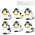Pingüino de Silicona Dentición Juguete Chupete Clips Flor Colgante, Collar de Cuentas de Silicona Bebé Mordedor Chupete Clip Titular de Seguridad
