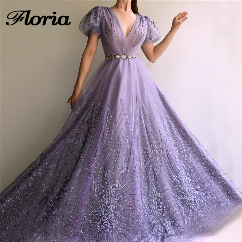 Sexy V Neck Purple Women Evening Dresses For 2019 Purple Dubai Longue Prom Dress Saudi Arabic Party Gown Robe De Soiree Turkish