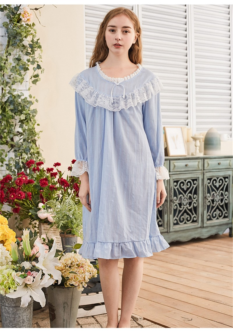 8a3ffc90d7 Light Blue Victorian Nightgown Ruffles Slash Vintage Night Dress Long  Sleepwear Cotton Negligee Nightly Home Sleep Wear T139