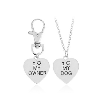 2pcs/set Heart I Love My Owner Dog Necklace Keychain