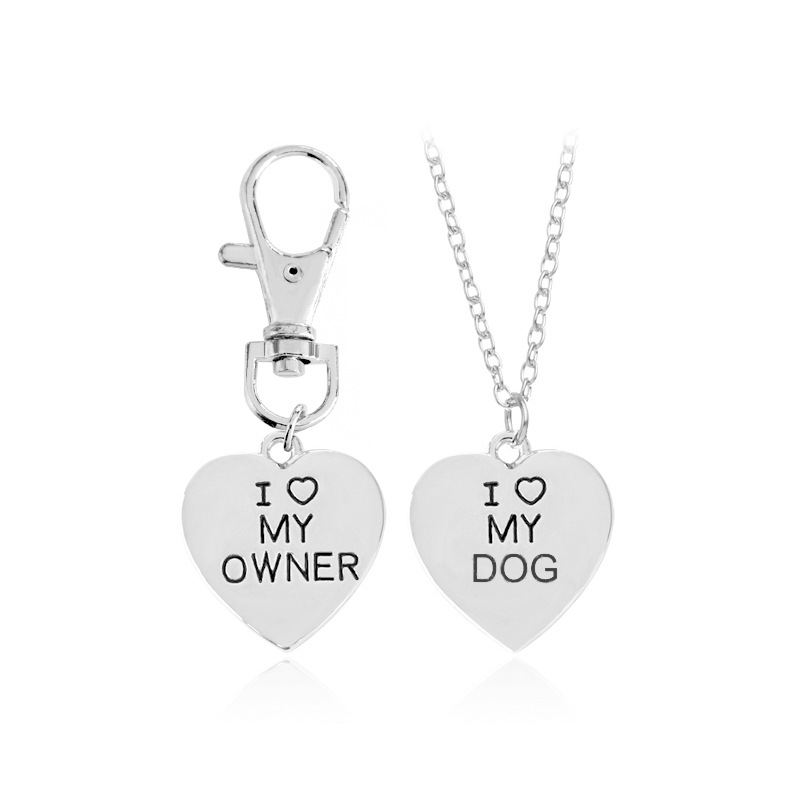 2pcs/set Gold Silver Heart I Love My Owner Dog Necklace Keychain Fashion Animal Best Friends Jewelry Pet Dog Memorial Necklaces image