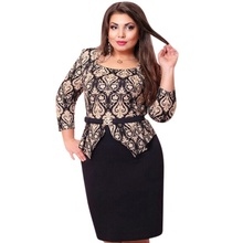 Sping Style Vestidos Party Dresses Large Size Dress Women Plus Size Three Quarter Sleeve Dress Bandage Formal Pencil Dresses